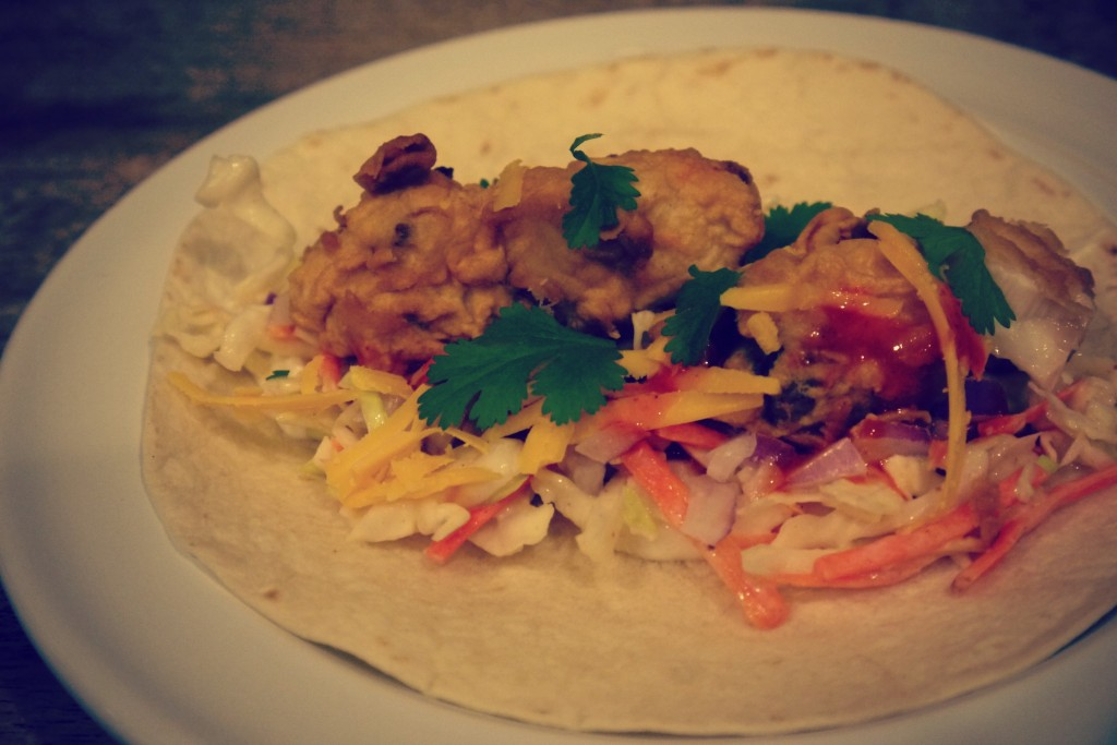 Recipe beer battered fish tacos with cajun slaw for Fish taco batter