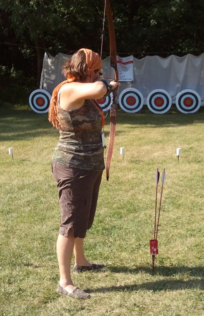 Carleen at the BOW archery workshop.
