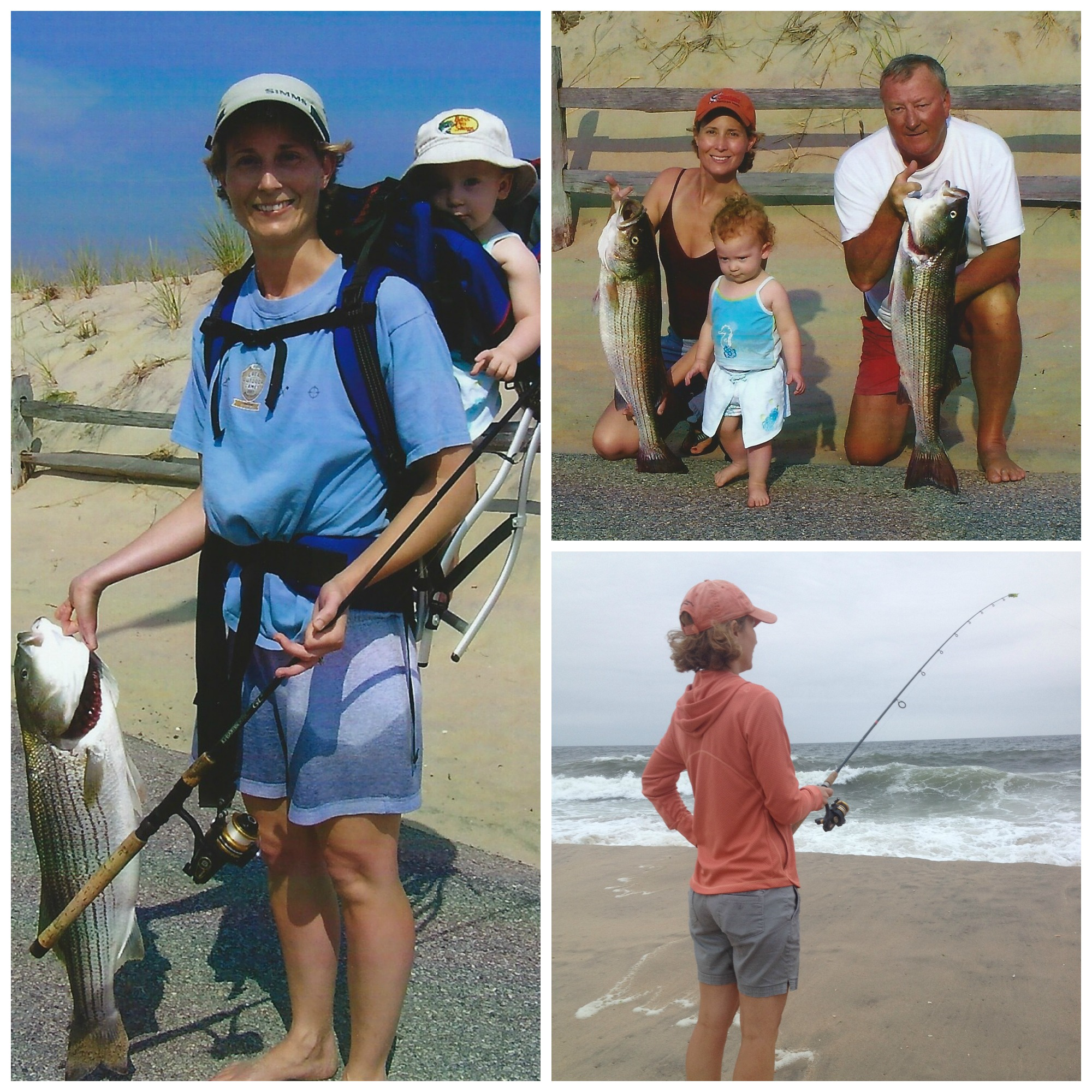 "Clockwise: Jodi and the fish she caught with her baby on her back, This is my daughter and I with my fish and my dad ""the master"", Fishing the front end of a nor-easter"