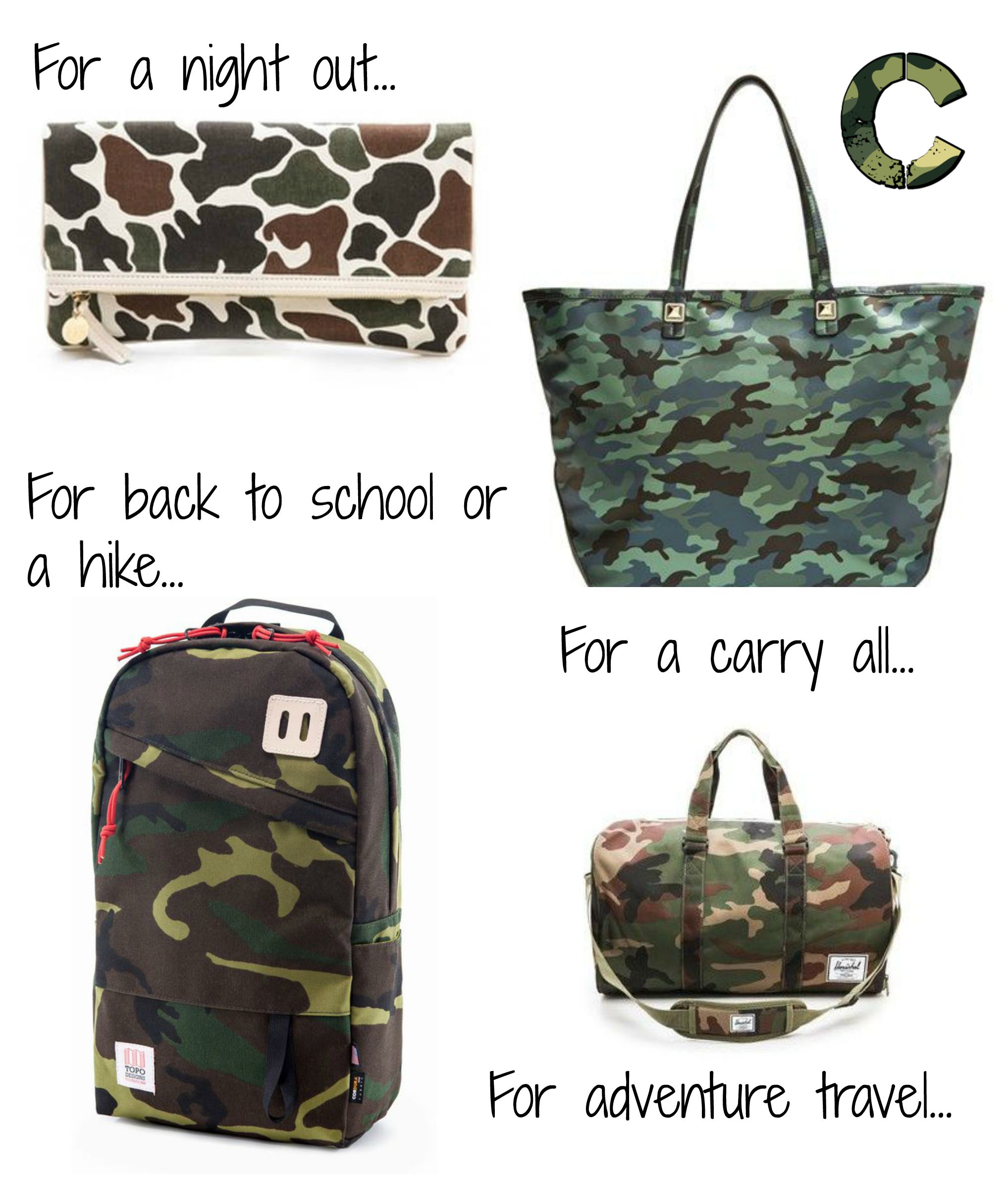 Camo bags for every occasion