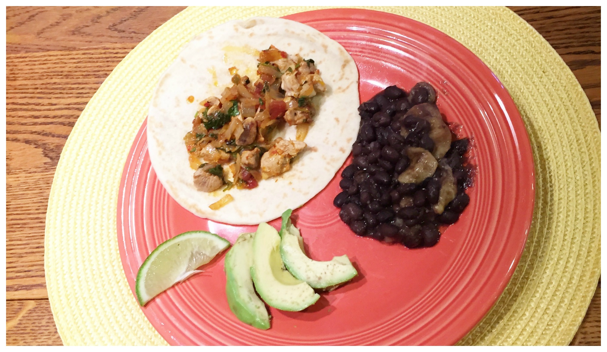 Pheasant Tacos with fried bananas and black beans